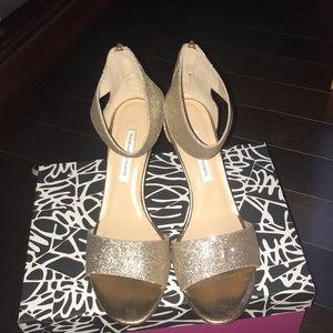 DVF Gold Glitter Heels